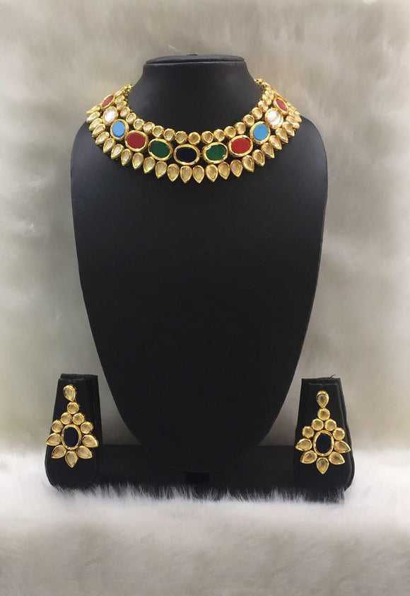Multicolor Kundan Designer Necklace Set-Fashion Kida