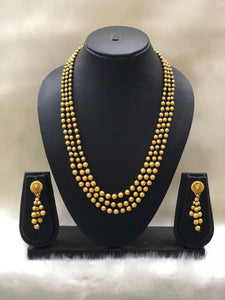 Three Layered Round Gold Plated Necklace Set-Fashion Kida