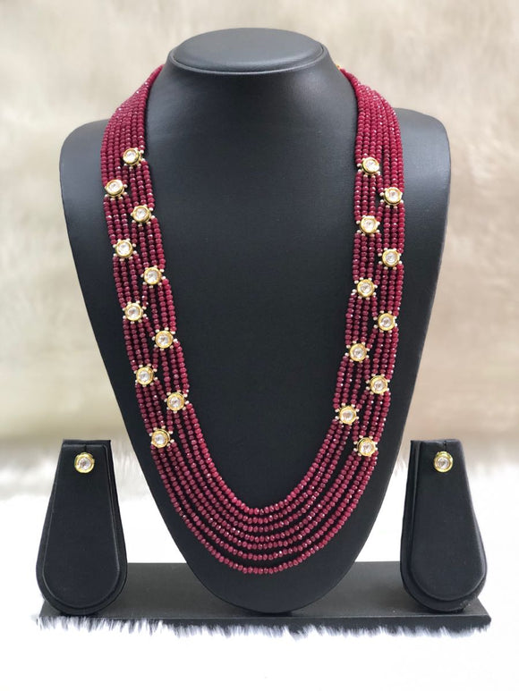 Maroon Gold Kundan Gemstone Necklace Set-FASHION KIDA-Fashion Kida