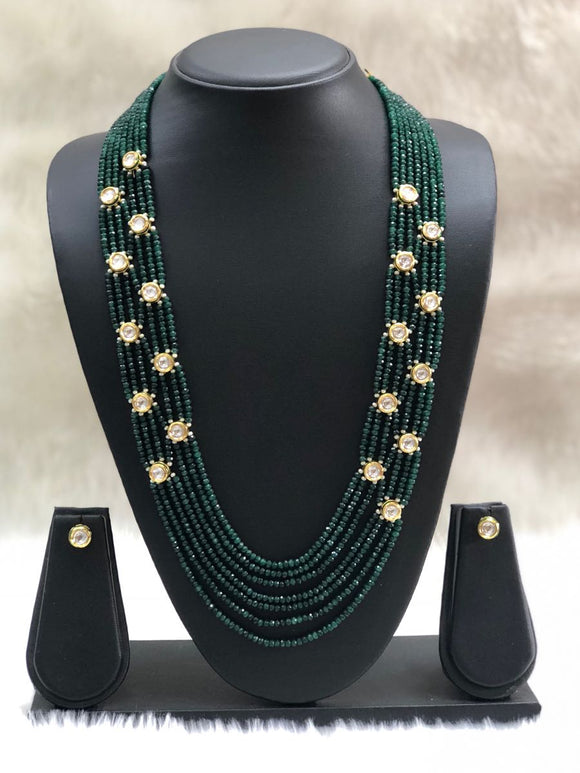 Dark Green Gold Kundan Gemstone Necklace Set-FASHION KIDA-Fashion Kida