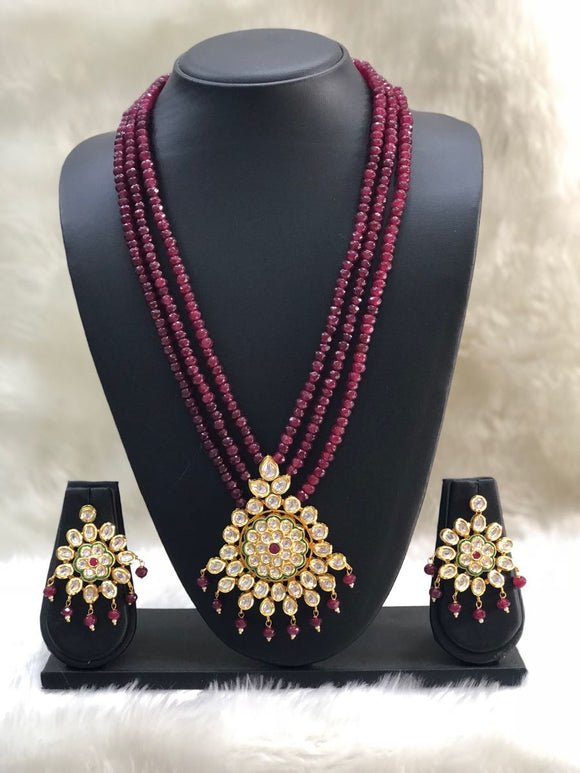 Three Stranded Maroon Kundan Necklace Set-Fashion Kida