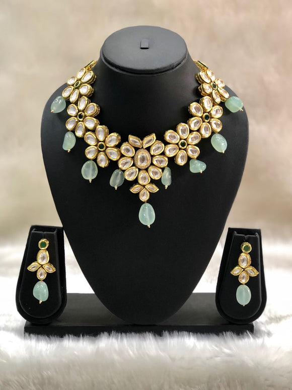 Paled Turquoise Kundan Pachi Necklace Set-FASHION KIDA-Fashion Kida
