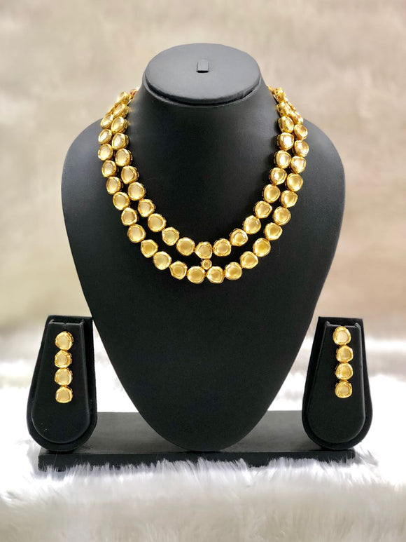 Two Stranded Gold Plated Necklace Set-Fashion Kida