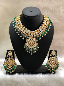 Mesmerizing Heavy Gemstone Beaded Kundan Necklace Set-FASHION KIDA-Fashion Kida