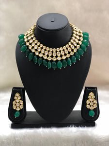 Emerald Green Semi-Precious Kundan Neckalce Set-FASHION KIDA-Fashion Kida