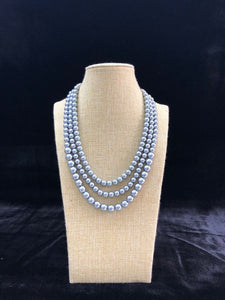 Multi Stranded Silver Pearl Necklace-FASHION KIDA-Fashion Kida