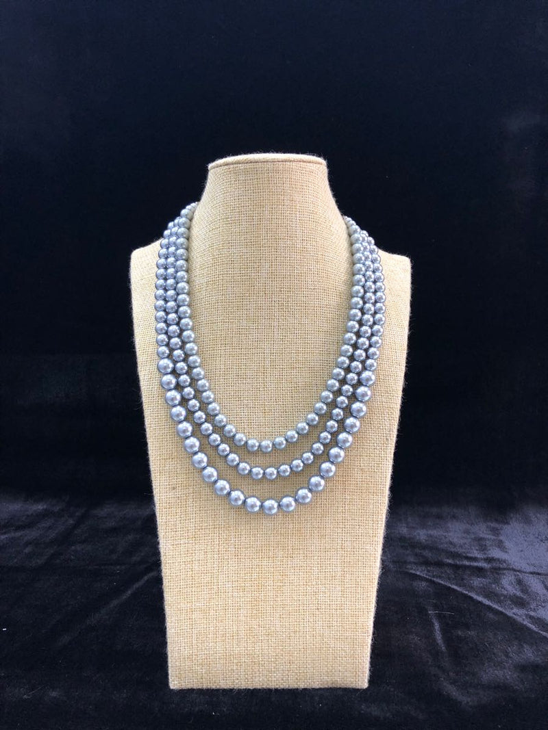 Multi Stranded Silver Pearl Necklace