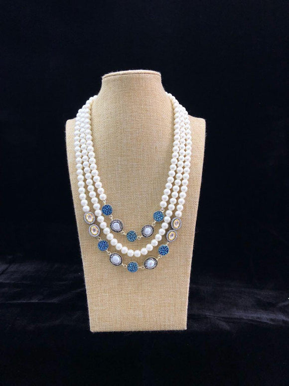 Blue Multicolor Pearl Decorative Necklace-FASHION KIDA-Fashion Kida