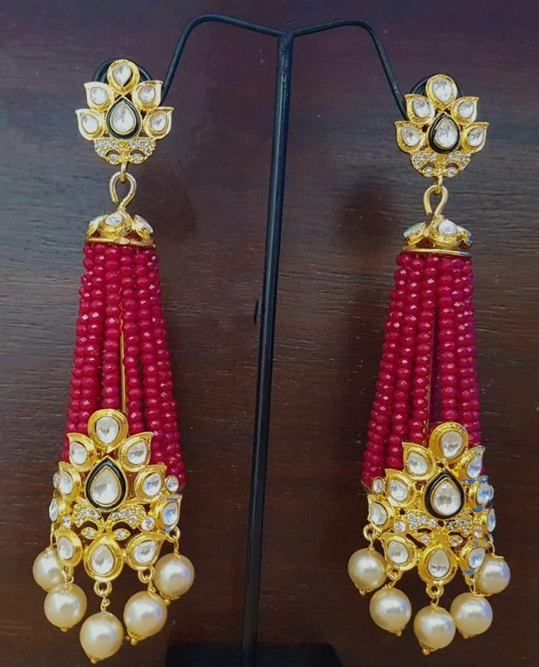 Red Pearl Kundan Pearl Earrings-FASHION KIDA-Fashion Kida