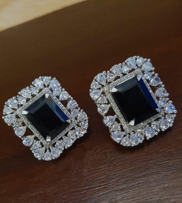 Dark Blue Diamond Stud Earrings-FASHION KIDA-Fashion Kida