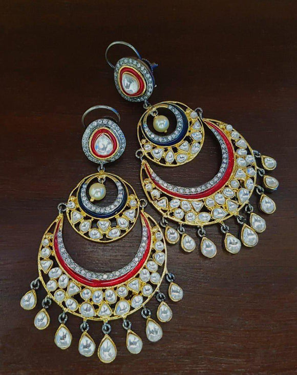 Red and Gold Chandbali Earrings-FASHION KIDA-Fashion Kida
