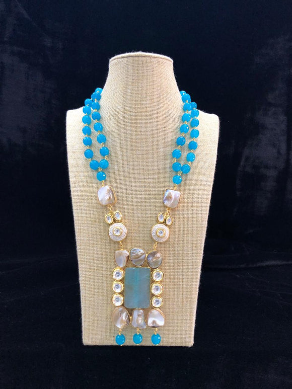 Azure Blue Barqoue Pearl Necklace-Fashion Kida