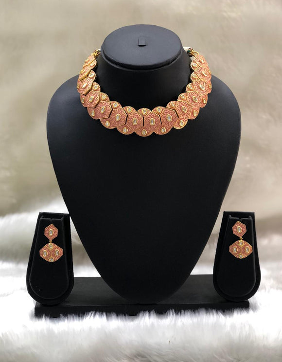 Orange choker Gold Plated Necklace Set-Fashion Kida