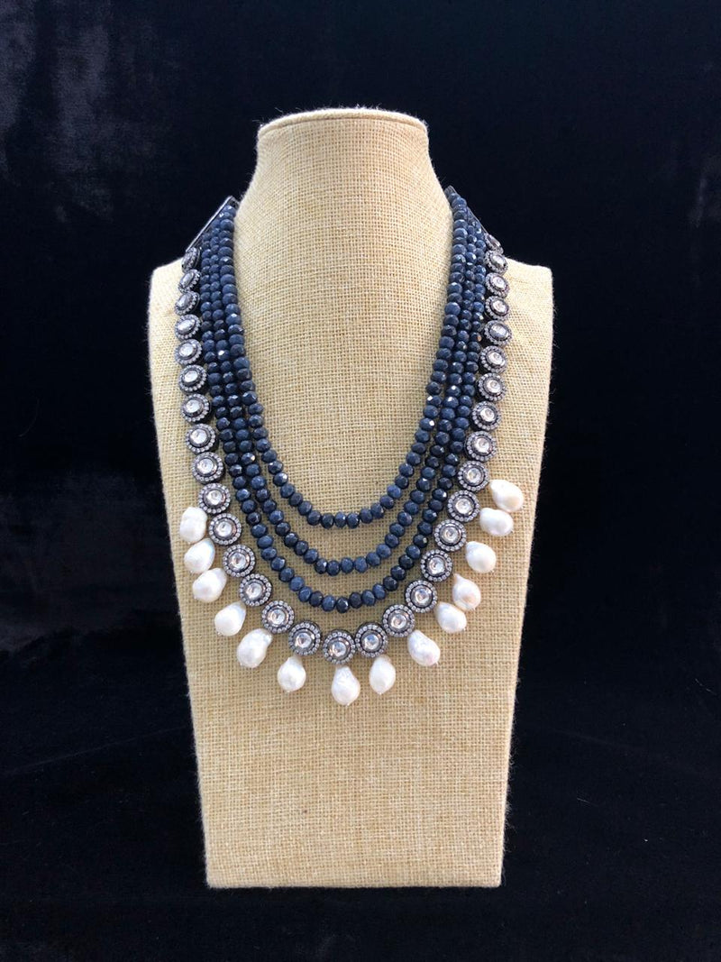 Blue Layered Pearl Necklace-FASHION KIDA-Fashion Kida