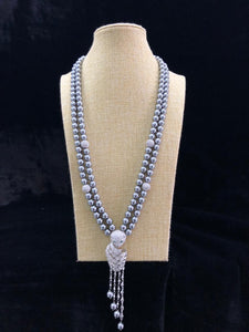 Silver Pearl Beaded Necklace-FASHION KIDA-Fashion Kida