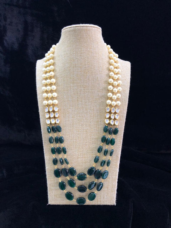 Gemstone Beaded Kundan Necklace-FASHION KIDA-Fashion Kida