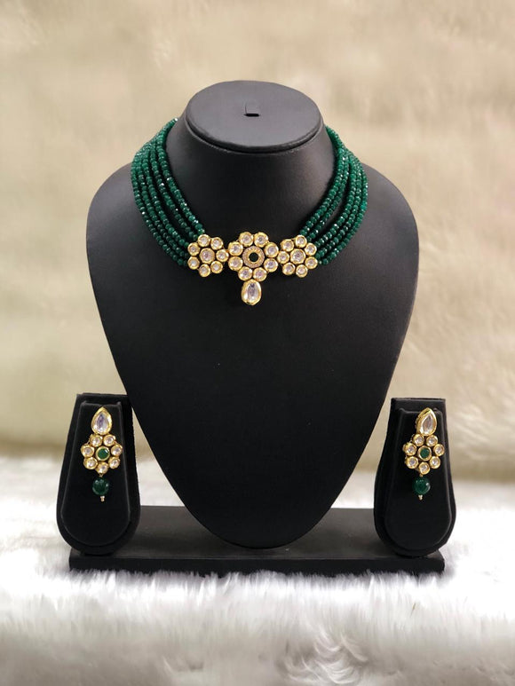Choker Green Kundan Necklace Set-FASHION KIDA-Fashion Kida