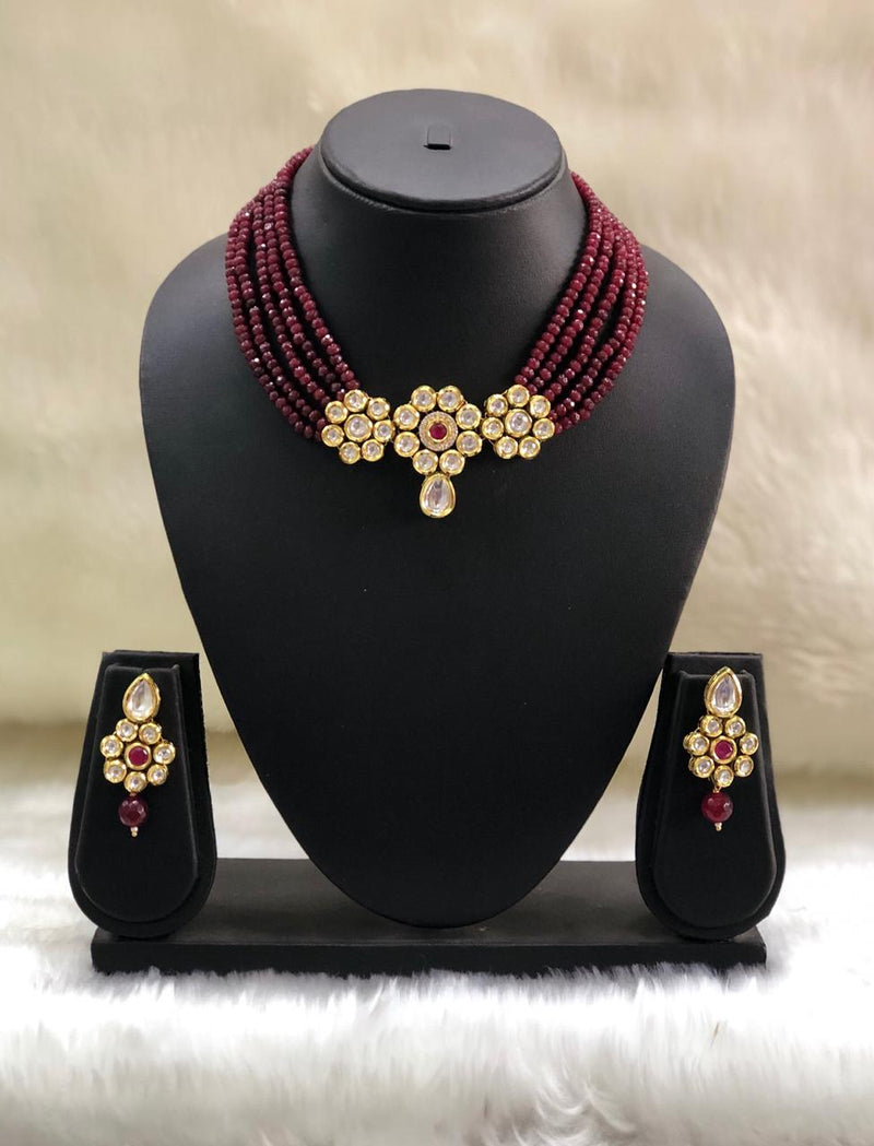 Floral Maroon Design Necklace Set-FASHION KIDA-Fashion Kida