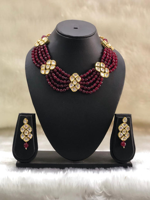 Layered Kundan Choker Maroon Necklace Set-FASHION KIDA-Fashion Kida