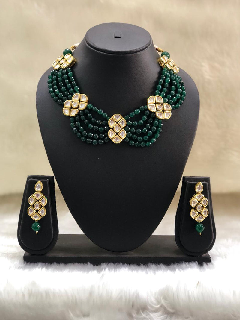 Layered Kundan Choker Green Necklace Set-FASHION KIDA-Fashion Kida