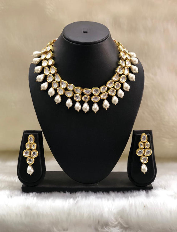 White Pearl Kundan Pearl Necklace-FASHION KIDA-Fashion Kida