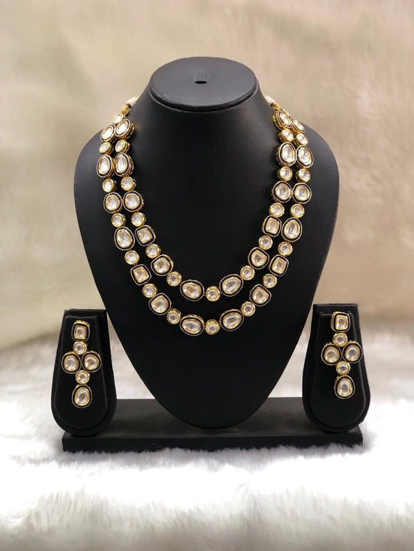 Antique Kundan Two Layered Necklace Set-FASHION KIDA-Fashion Kida