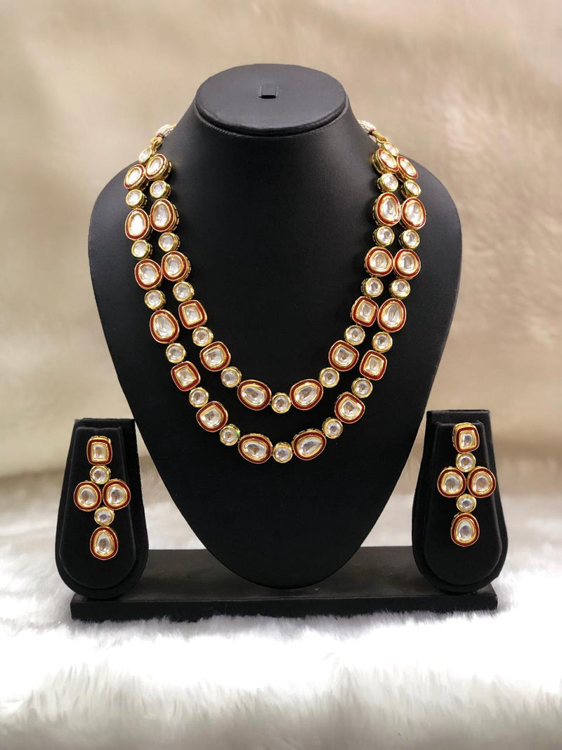 Sterling Kundan Two Line Necklace Set-FASHION KIDA-Fashion Kida