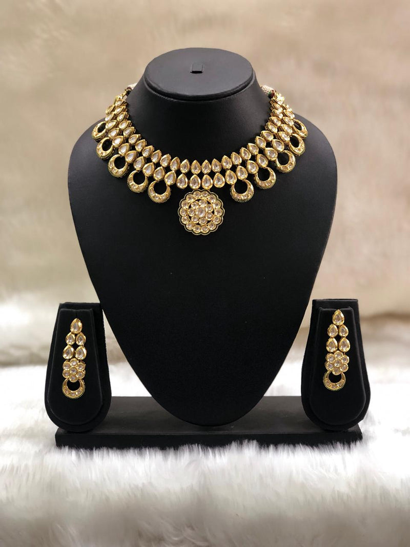 Alloy Kundan Choker Necklace Set-FASHION KIDA-Fashion KidaAlloy Kundan Choker Necklace Set