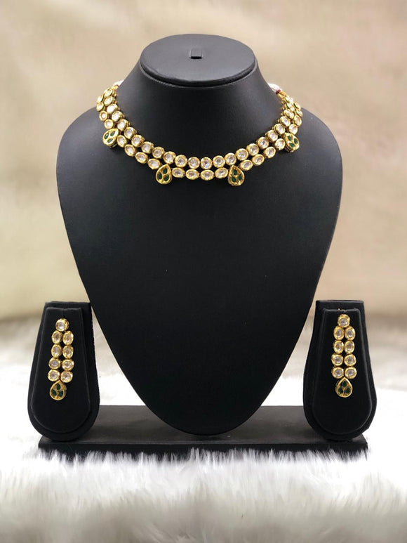 Two Line Kundan Necklace Set-FASHION KIDA-Fashion Kida