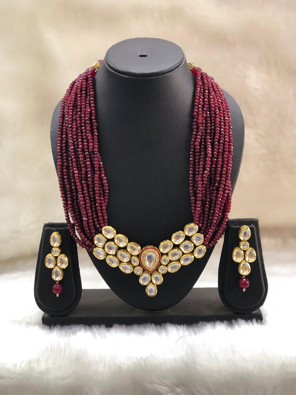 Multiline Maroon Kundan Necklace Set-FASHION KIDA-Fashion Kida