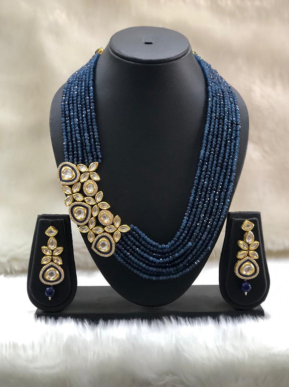 Blue Beaded Centric Pendant Necklace Set-FASHION KIDA-Fashion Kida