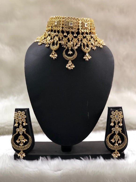 Heavily Designer Gold Plated Necklace-set