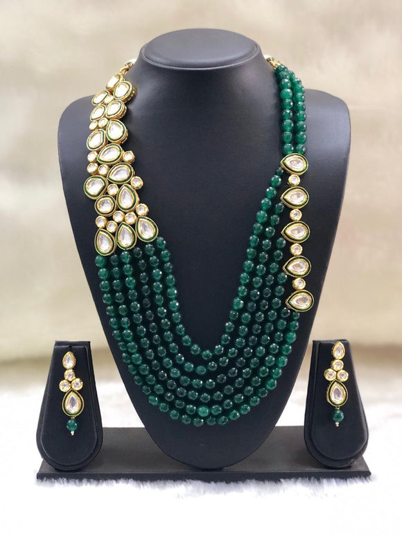 Stunning Green Kundan Necklace-set
