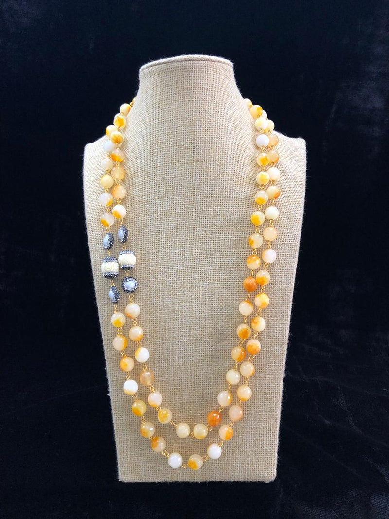 Shades Of Yellow Centric Baroque Necklace