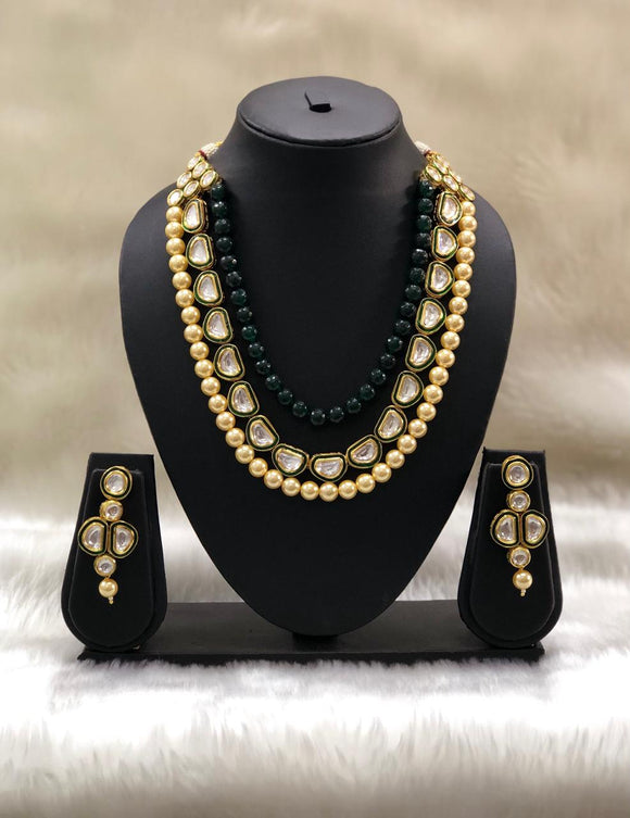 Emerald Green Three Stranded Necklace set