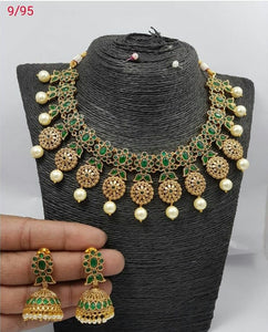 Green Pearl Polki Necklace Set