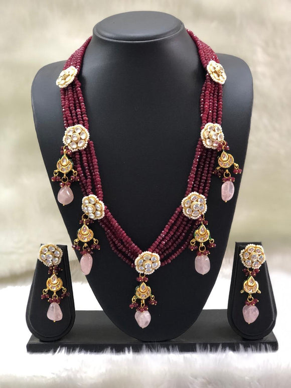 Gorgeous Red Flowered Necklace Set