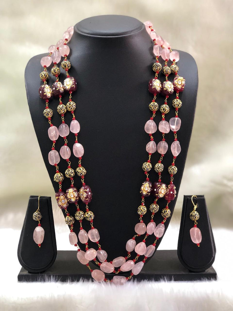 Baby Pink Replinesh Seed Necklace Set