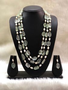 Prismatic Green Seed Bead Necklace Set