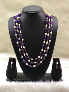 Purple Seed Beads and Baroque Necklace Set