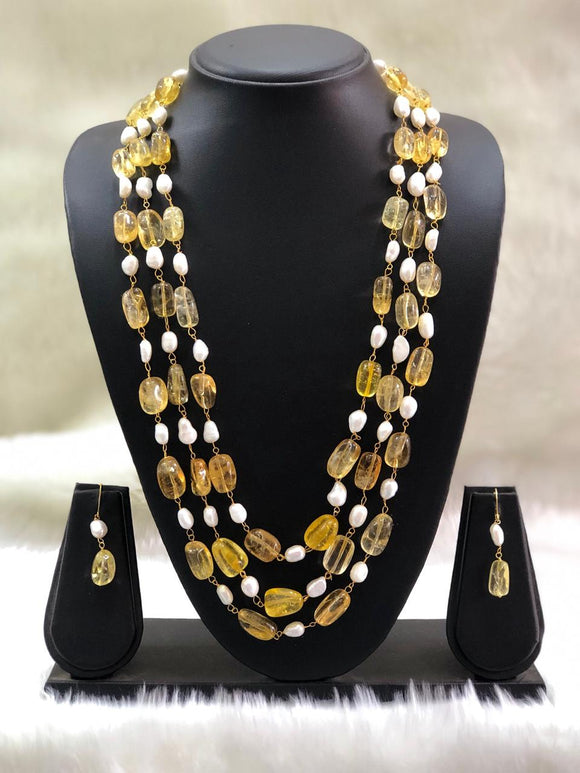 Seed Beads Yellow Necklace Set