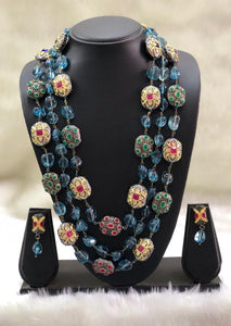 Blue Seed Beads Intruling Necklace Set