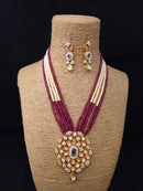 Whimsical Graving Kundan Necklace Set