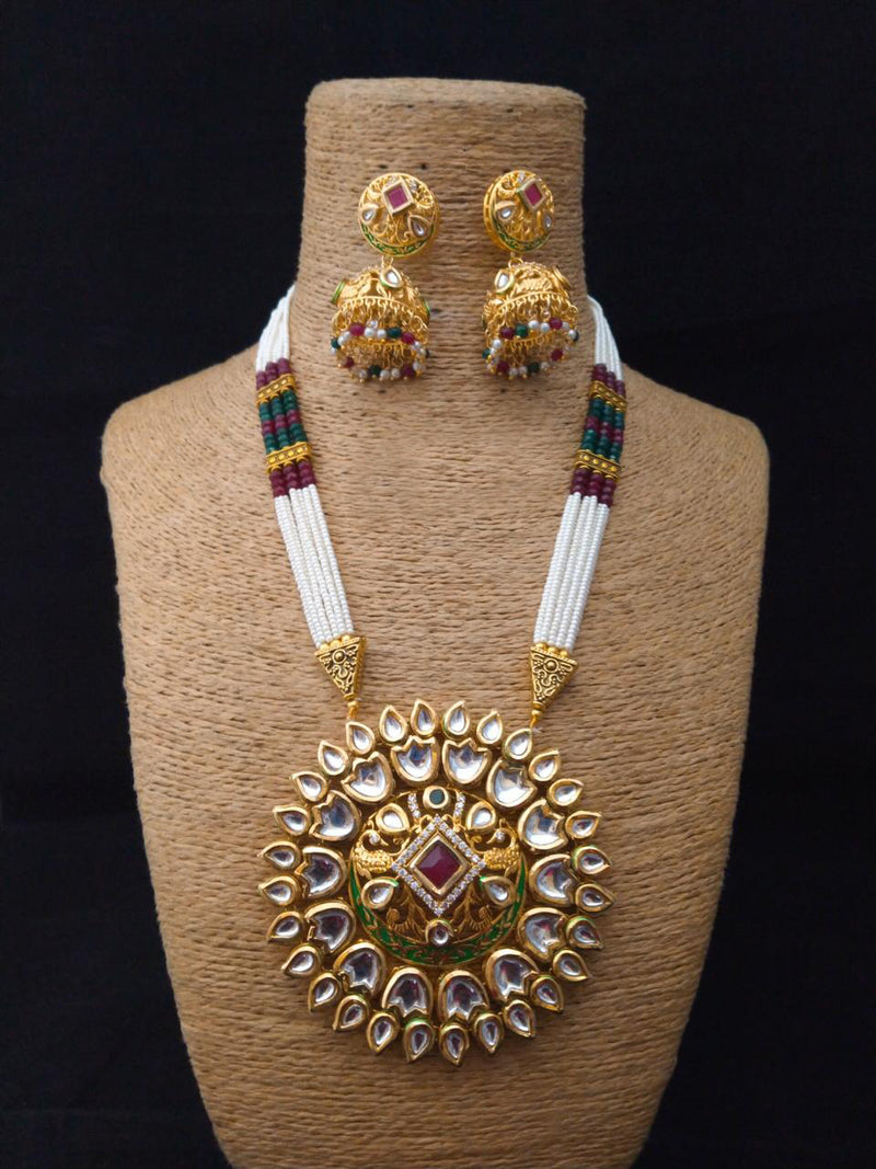 Antiquarians Gillitered  Kundan Necklace Set