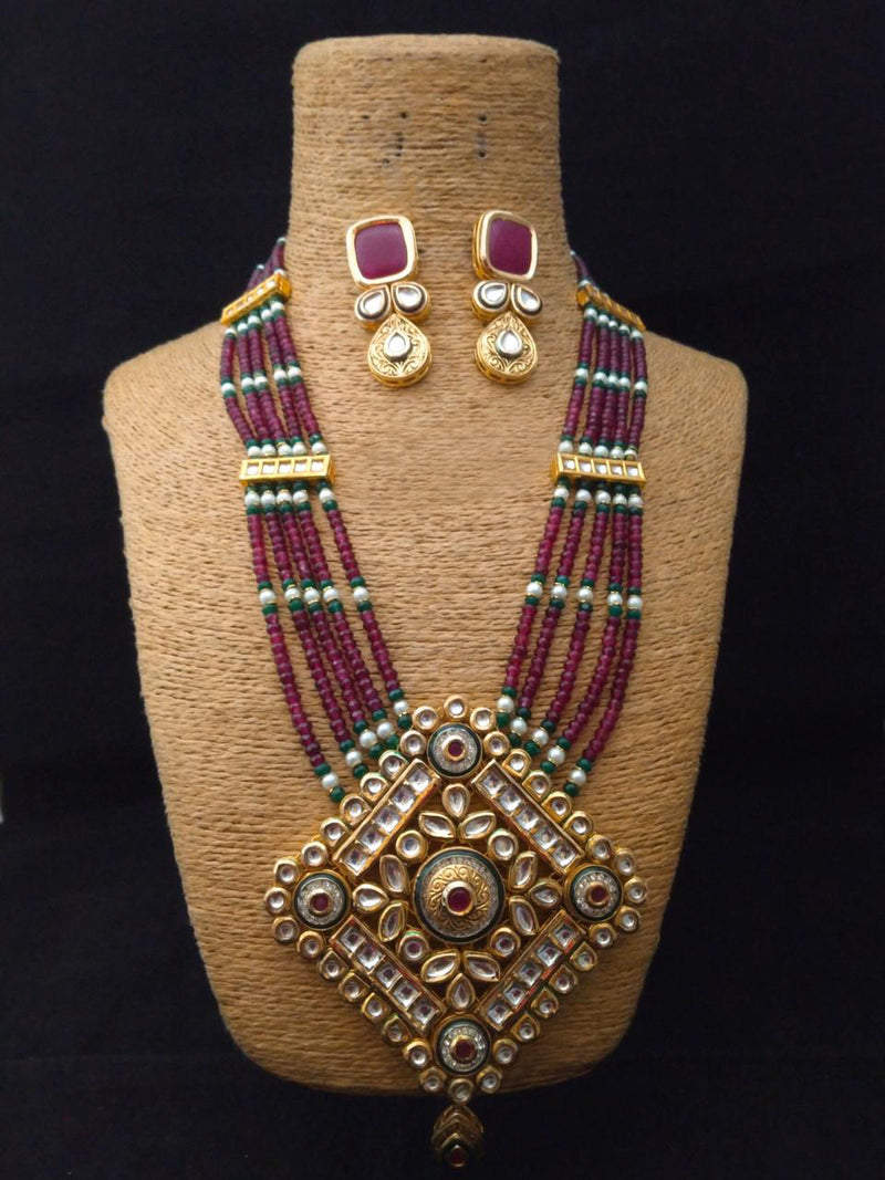 Engraving Cultured Kundan Necklace Set