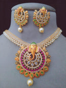 Ethnic Designer Ganpati Bappa Necklace Set