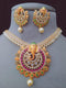 Garnet Shinning Ganpati Kundan Necklace Set