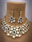 Tapered  Gillitered Kundan Necklace Set