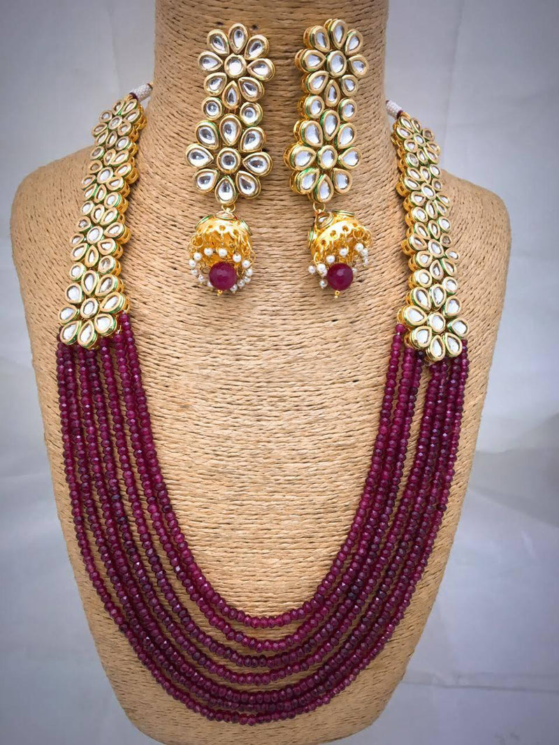 Medallion Jewel Beautiful Kundan Necklace Set-Fashion Jewellery-Fashion Kida