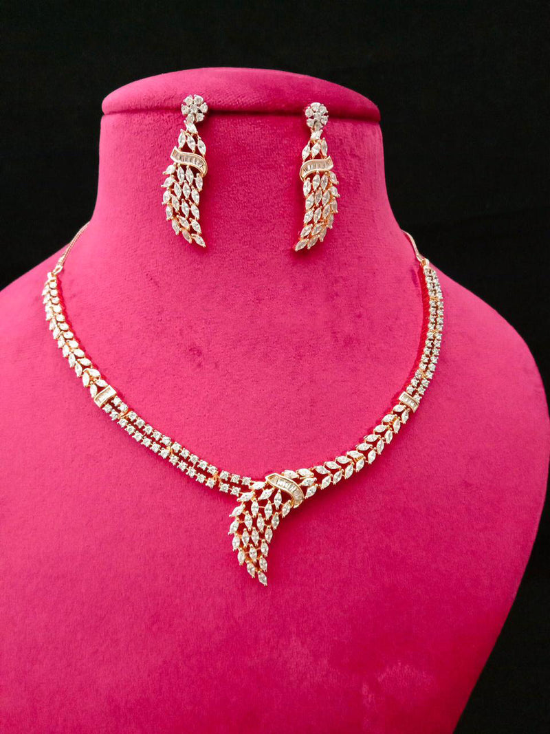 Earth Work Glamorious Cz Necklace Set